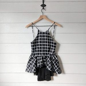 TOBI Windowpane Checkered Print Peplum